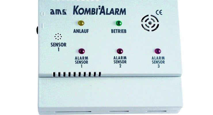 Das Warnsystem AMS Kombialarm compact löst bei geringster Gas- oder Narkosegaskonzentration einen Alarm aus.